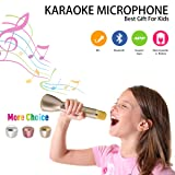 Microphone for Kids,Wireless Microphone Karaoke,Portable Bluetooth Microphone with Speaker,Karaoke Mic,Singing Machine for Phone iphone ipad Android Computer Smartphones (Gold)