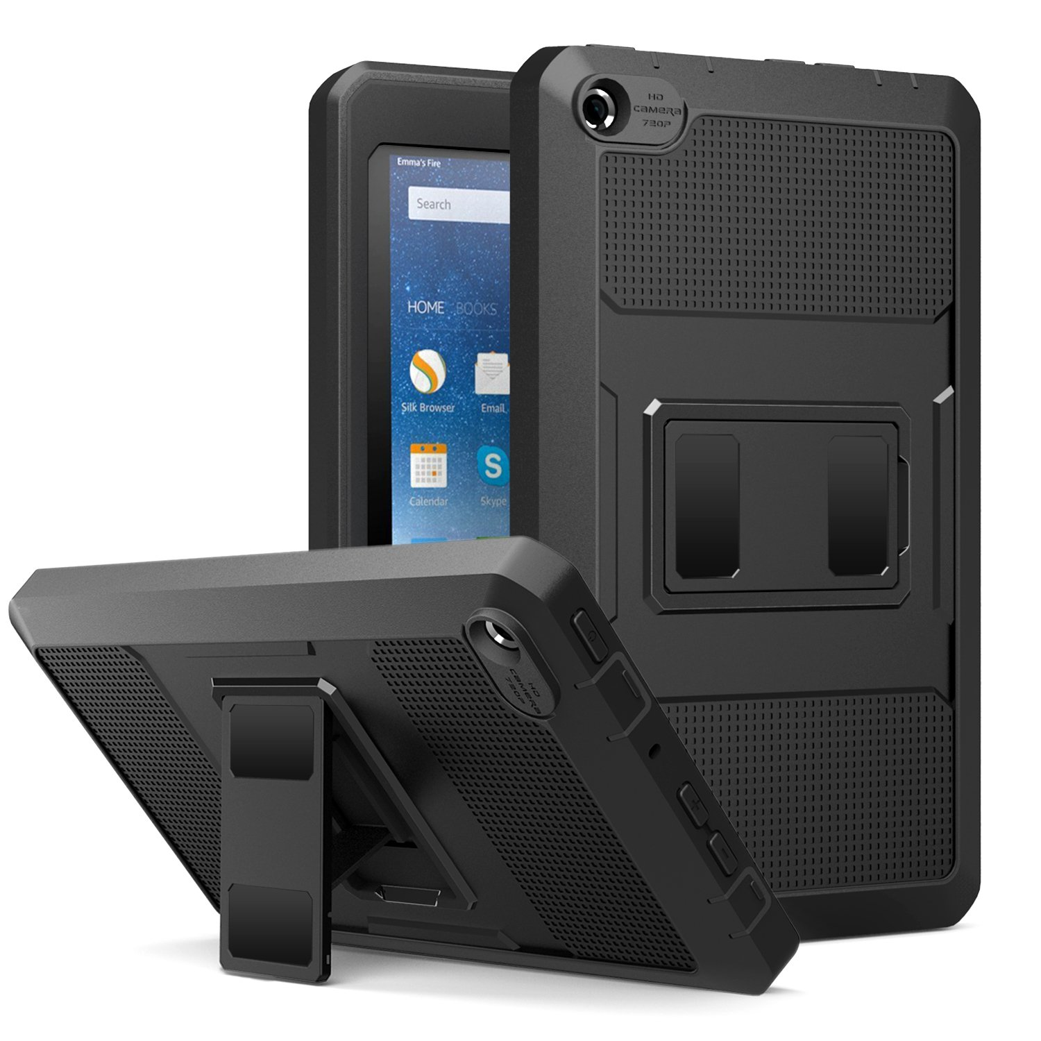 MoKo Fire 7 2015 Case - (Heavy Duty) Shockproof Defender Full Body Rugged Hybrid Cover with Built-in Screen Protector for Amazon Fire Tablet (7 inch Display - 5th Generation, 2015 Release Only), BLACK