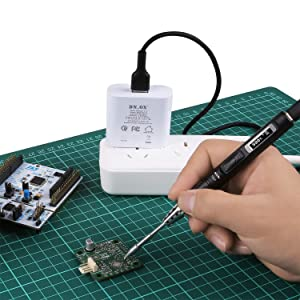 SainSmart TS80 Portable Soldering Iron with Adjustable Temperature, Auto Sleep Mode, Fast Internal Heating, OLED Display, Complete Kit(with TS-D25 Tip & 9V/2A QC3.0 Quick Charger USB Type C Cable)