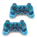 2pcs Pack Wireless Game Controller Double Vibration Gamepad for Sony PS2 Playstation 2 (Blue-Blue) (Color: Blue-Blue)
