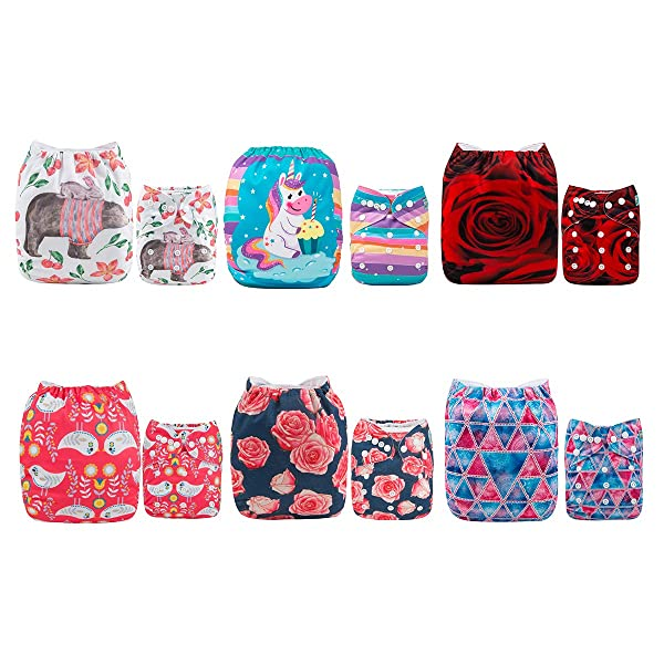 6 Pack With 6 Inserts Adjustable Washable Reusable Pocket Diapers for Baby Girls
