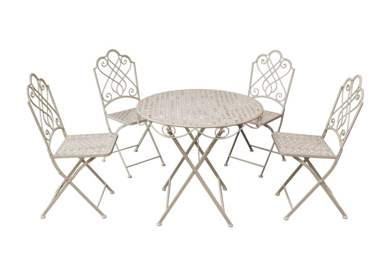 Pulverbeschichtetes Bistro Set Garten Garnitur Sitzgruppe 4 Stühle Tisch Metall Garten Möbelset creme oder braun filligrane Verzierungen robust (creme)