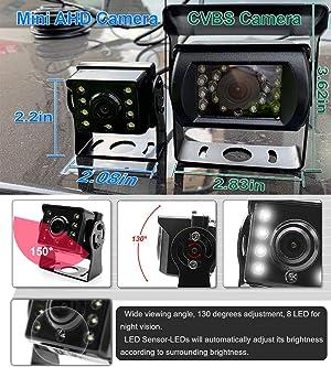 Wired AHD Backup Camera Monitor Kit for Truck/Semi-Trailer/Box Truck/RV/Camper/Bus/Van/Farm Mach/Motorhome/5th Wheel, HD 7Inch Digital TFT Monitor + 960P Mini Camera, Powered by Cigarette Lighter (Color: Black, Tamaño: large)
