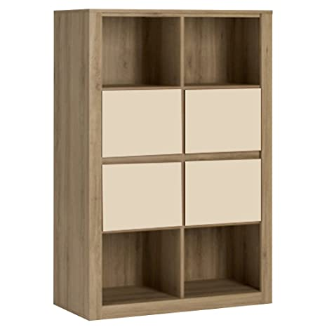 Furniture To Go Hobby 4 Drawer Storage Unit Open Shelves Top and Bottom, Wood, Oak Melamine/Vanilla