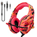 Gaming Headset for PS4,Xbox One,Nintendo Switch(Only Audio),ONIKUMA PC Stereo Noise Cancelling Over Ear Headphones with Mic, Compatible with Playstation 4,Laptop,Tablet,Smart Phone(Red Camo) (Color: Red Camouflage)