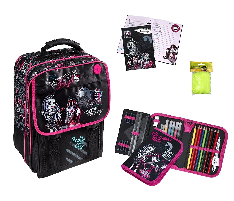 Monster High großes Schulrucksack Set 4-tlg. MHIN8300 + Federmappe gefüllt + Freundebuch + Regen-/Sicherheitshülle als Weihnachtsgeschenk
