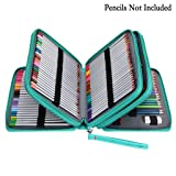 BTSKY 200 Slots Colored Pencil Organizer - Deluxe PU Leather Pencil Case Holder With Removal Handle Strap Pencil Box Large for Colored Pencils Watercolor Pencils (Color: Green)
