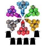 iFergoo DND Dice Set, Dungeons and Dragons Dice 42 Pieces Polyhedral Dice Set for D&D Game Dice Pathfinder RPG MTG RPG Role Playing Games with 6 Dice Pouches (Color: 42 Pps Acrylic Dice)