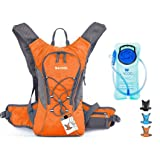 WACOOL 2L Waterproof Hydration Bladder Pack, Cycling Backpack, Lightweight Daypack (Orange and 2L Baldder)