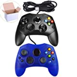 Mekela 2 Packs Classic Wired Controller Gamepad Joysticks for Xbox S Type Console (Black and ClearBlue1)