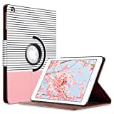 ULAK iPad 2017/2018 iPad 9.7 inch Case, Slim Lightweight 360 Rotating Folio Folding Stand Smart Cover Auto Wake/Sleep PU Leather Protective Case for iPad 9.7 Inch (2017) Rose Gold Stripes (Color: Rose Gold Minimal Stripes, Tamaño: 9.7 Inch)