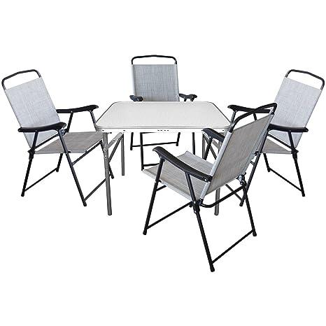5er Set Camping Sitzgruppe Sitzgarnitur Klapptisch 75x55xH60cm + 4x Klappstuhle mit Textilengewebe Schwarz/Grau