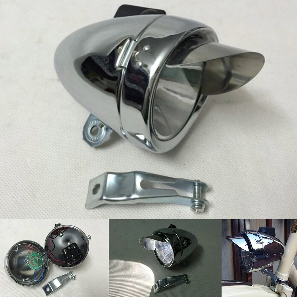 Goodkssop 180lm Vintage Retro Chrome Bicycle Bike LED Headlight Front Fog Head Light Lamp Silver 0