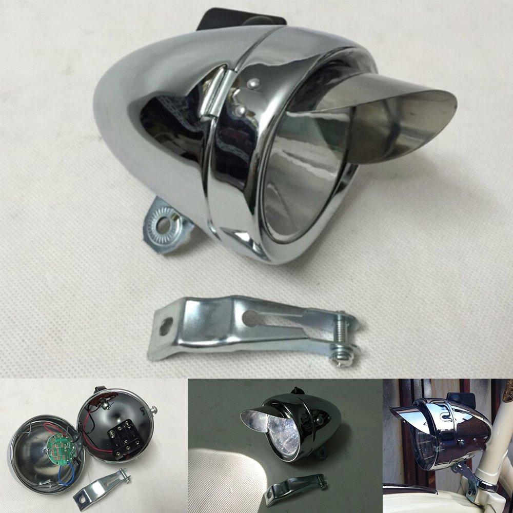 Metal Chrome Vintage Bicycle Retro LED Headlight Bike Front Fog Light Headlamp