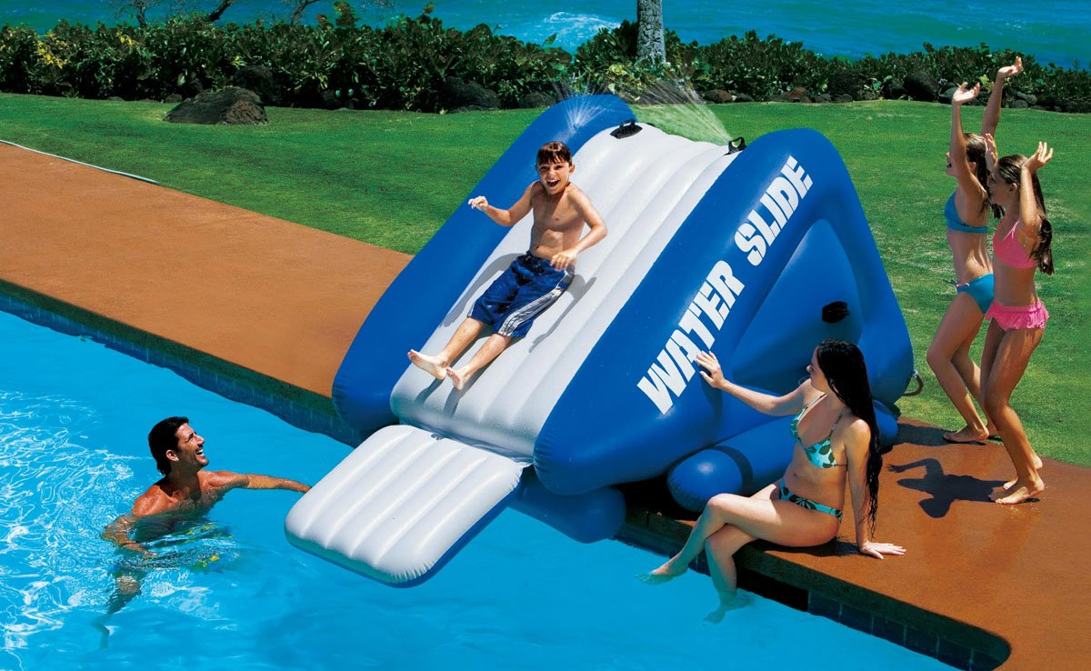 Water slide pool inflatable kids park bounce house for Achat toboggan gonflable piscine
