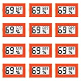 LinkDm 12 Pack Orange Mini Digital Electronic Temperature Humidity Meters Gauge Indoor Thermometer Hygrometer LCD Display Fahrenheit (?) for Humidors, Greenhouse, Garden, Cellar, Fridge, Closet