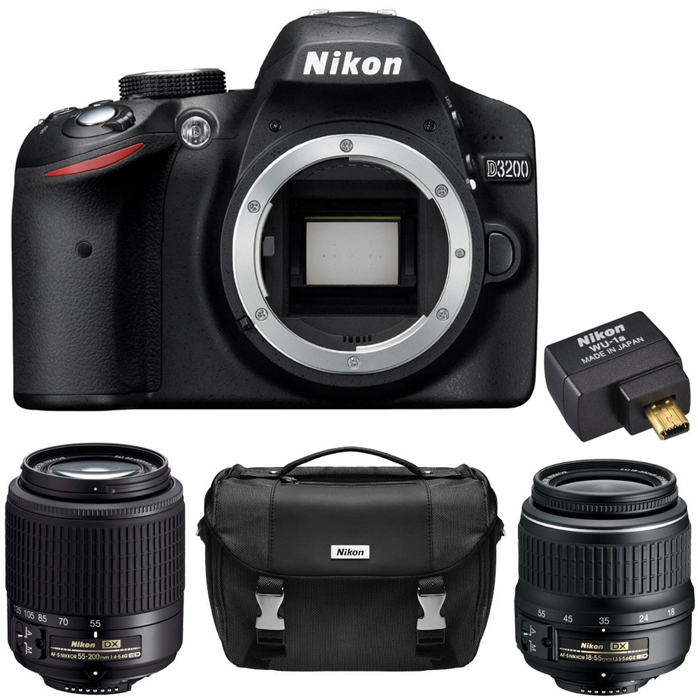 Nikon D3200 24.2 MP DX-format Digital SLR Camera (Black) 2 Lens Ultimate Wireless Bundle - Includes D3200 Body (Black), 18-55mm f/3.5 ..
