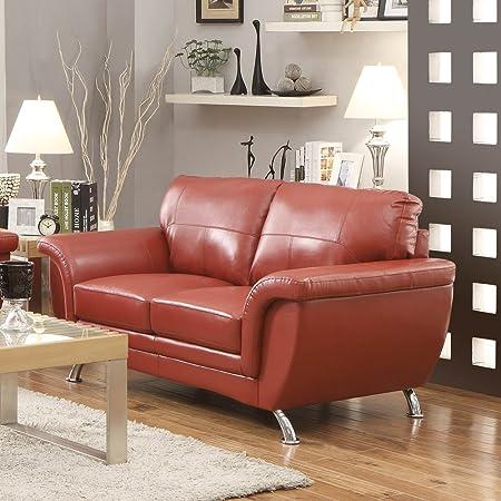 Homelegance Chaska Loveseat in Red Leather