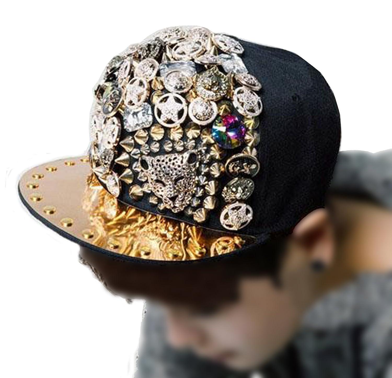 4efaf404aa8 Unisex Hip hop Punk Flat Brim Spikey Rivets Baseball Cap Hip hop Hiphop  available at Amazon