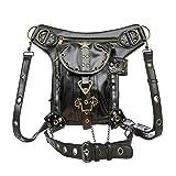 Steampunk Waist bag Fanny Pack Retro Fashion Gothic Casual Leather Shoulder Crossbody Messenger Bags Punk Rock Thigh Leg Hip Holster Purse Pouch Travel Hiking Sport Chain Bags for Women Men (Color: Black-Star, Tamaño: Medium)
