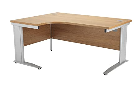 Office Hippo Left Crescent Cantilever Desk with Cable Management, 160 cm - Silver Frame/Oak Top