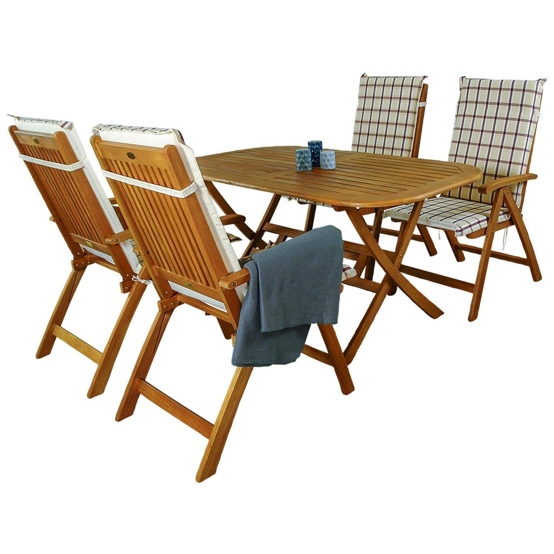 indoba® IND-70063-BASE5 + IND-70409-AUHL - Serie Bangor - Gartenmöbel Set 9-teilig aus Holz FSC zertifiziert - 4 klappbare Gartenstühle + klappbarer Gartentisch + 4 Comfort Auflagen Karo Weinrot
