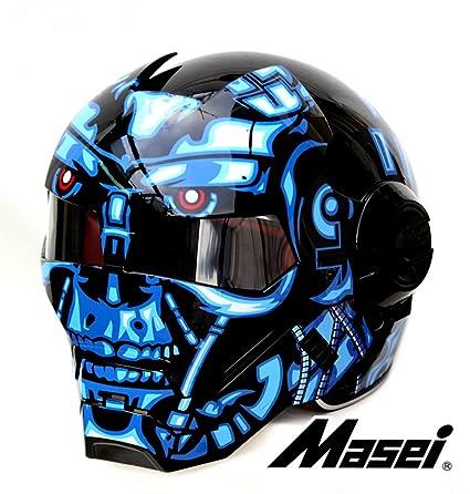 LC Prime Masei 610 Atomic Man Modular Flip Up Motorcycle Approved Clear Visor Cool Helmet
