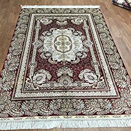 5\'x7.5\' Red Traditional Handmade Silk Carpet Oriental Floral Persian Area Rug