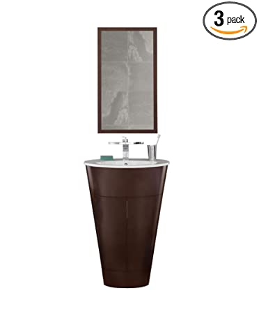 Ronbow 034723-H01_Kit_1 Leonie Bathroom Vanity Set in Dark Cherry with White Ceramic Drop-Sink & Contemporary Mirror, 23""