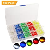 500pcs LED Diode Lights, KingSo 5 Colors×100pcs 5mm Light Emitting Diodes LED Assortment Kit Electronics Components, Diffused Round Light Bulb for Arduino, White Red Orange Yellow-green Blue (Color: white)