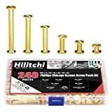 Hilitchi 120-Sets M5 x 5 / 10 / 15 / 25 / 35 / 45 Brass Plated Phillips Chicago Screw Posts Binding Screws Assortment Kit for Scrapbook Photo Albums Binding, Leather Repair - Gold (Color: Golden)