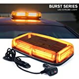 Xprite Burst Series 12V COB LED Amber/Yellow Roof Top Emergency Hazard Warning LED Mini Strobe Beacon Lights Bar w/ Magnetic Base, for Snow Plow, Police, Firefighters, Trucks, Vehicles