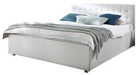 sette notti  Polsterbett Bett 140x200 Weiß, Kunstleder-Bett mit gesteppten Kopfteil, Bett Liegefläche 140x200 cm, My Life Art Nr. 458-99-3000
