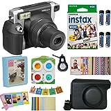 Fujifilm Instax Wide 300 Instant Film Camera (Black) (USA) with Wide Fuji Film (20 Shots) + Accessories Kit Bundle + Case with Strap + 4 Filter Lens + Assorted Frames + Photo Album + Sticker Frames (Color: black)