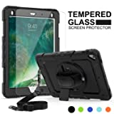 iPad 6th/5th Generation Case, New iPad 2018/2017 Case, SMAPP [Tempered Glass Screen Protector] [Full-Body] [Shock Proof] Kids Proof Hybrid Armor Protective Case for iPad 2018/2017/Air 2/Pro 9.7(Black) (Color: Black)
