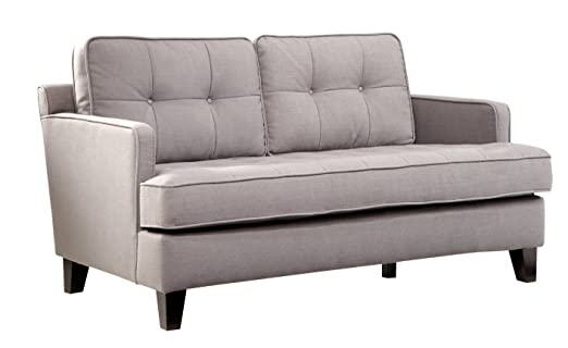 ARMEN LIVING Eden Loveseat, Cement Gray Fabric