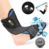 Plantar Fasciitis Night Splint Kit Ultra Breathable Cool Feeling Corrective Brace Soft Pad Massage Ball Elastic Strap Pain Relief Drop Foot Achilles Tendonitis (Color: Black)