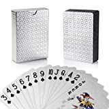 Joyoldelf Silver Foil Poker Playing Cards, Waterproof Deck Poker Card with Gift Box, Perfect for Party and Game (Color: Silver)