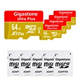 Gigastone 64GB 5-Pack Micro SD Card, A1 V30 Run App for Smartphone, UHD 4K Video Recording, High Speed 4K Gaming 95MB/s, Micro SDXC UHS-I U3 C10 Class 10 Memory Card with Adapter (Color: 64GB A1 V30 5Pack)