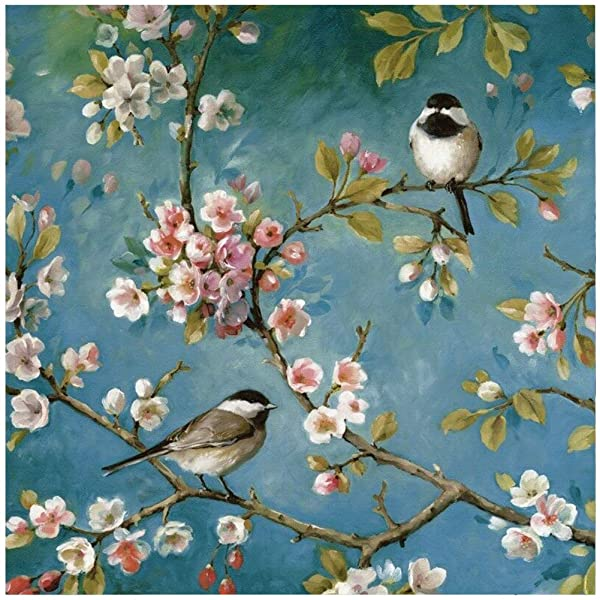 AiEllen DIY Diamond Painting by Numbered kit, Full-drilled Two Sparrows Cross-Stitch Art Craft Wall Decoration,14X14 inches (Color: L2)