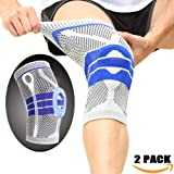 Knee Brace Support Protector - Relieves Patella Tendonitis - Jumpers Knee Mensicus Tear - ACL Lateral & Medial Ligament Sprains Comfort Design True Non-Slip FIT for Arthritis & Sport (Gray, L) (Color: Gray, Tamaño: Large)