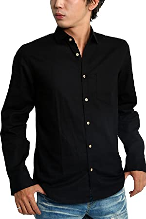 improves(インプローブス) インプローブス imp 木製風ボタン パナマ織り コットン リネン シャツ 長袖 7分袖 七分袖