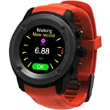 Parnerme GPS Running Watch Heart Rate Monitor Wrist Sport Watch Smart Notifications GPS Smart Watch for Men Women Multi-Sports Modes Compatible Phone with 3-4 Days Standby  Charging Station (Orange)