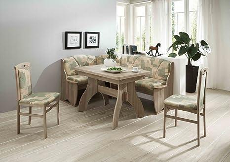 Dreams4Home Eckbankgruppe 'Parika' Essgruppe 170 x 130 x 89 cm Tisch 2 Stuhle modern Sonoma Eiche Dekor grun beige Eckbank Kuchentisch 4-teilig Landhaus Kuche