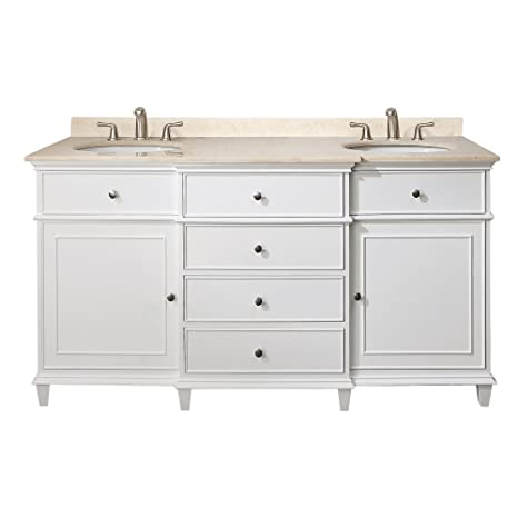 Avanity Windsor 60 in. Vanity with Carrera White Marble top and Dual Undermount Sinks in White finish