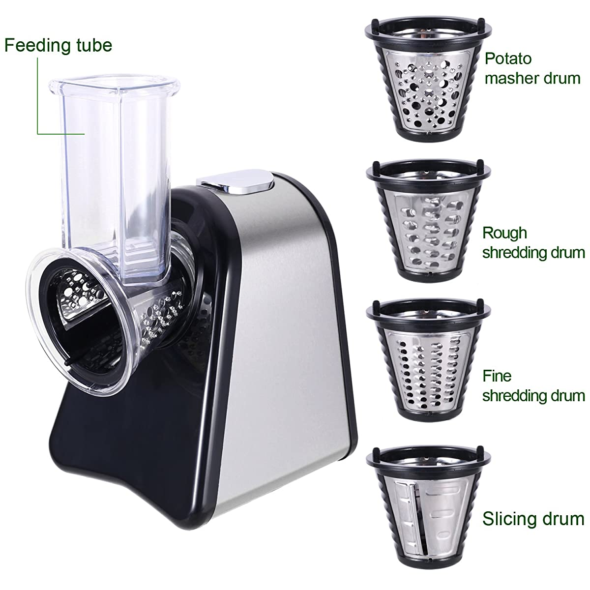 Professional Salad Shooter Electric Slicer/Shredder with One-Touch Control and 5 Free Attachments for fruits, vegetables, and cheeses (US PLUG)