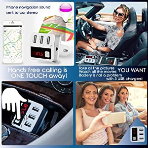 Bluetooth FM Transmitter Bluetooth Car Charger, FM Radio Transmitter, Car Music Adapter, Dual USB Charger Compatible for All Smartphones