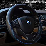 Steering Wheel Covers Universal 15 inch - Genuine Leather, Breathable, Anti Slip & Odor Free (Black with Blue Lines)