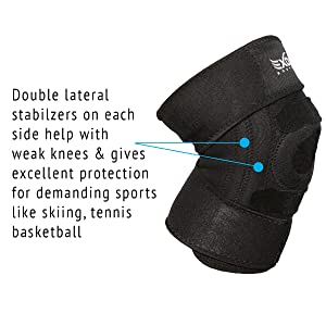 EXOUS Knee Brace Support Protector - Relieves Patella Tendonitis - Jumpers Knee Mensicus Tear - ACL Lateral & Medial Ligament Sprains Comfort Design T