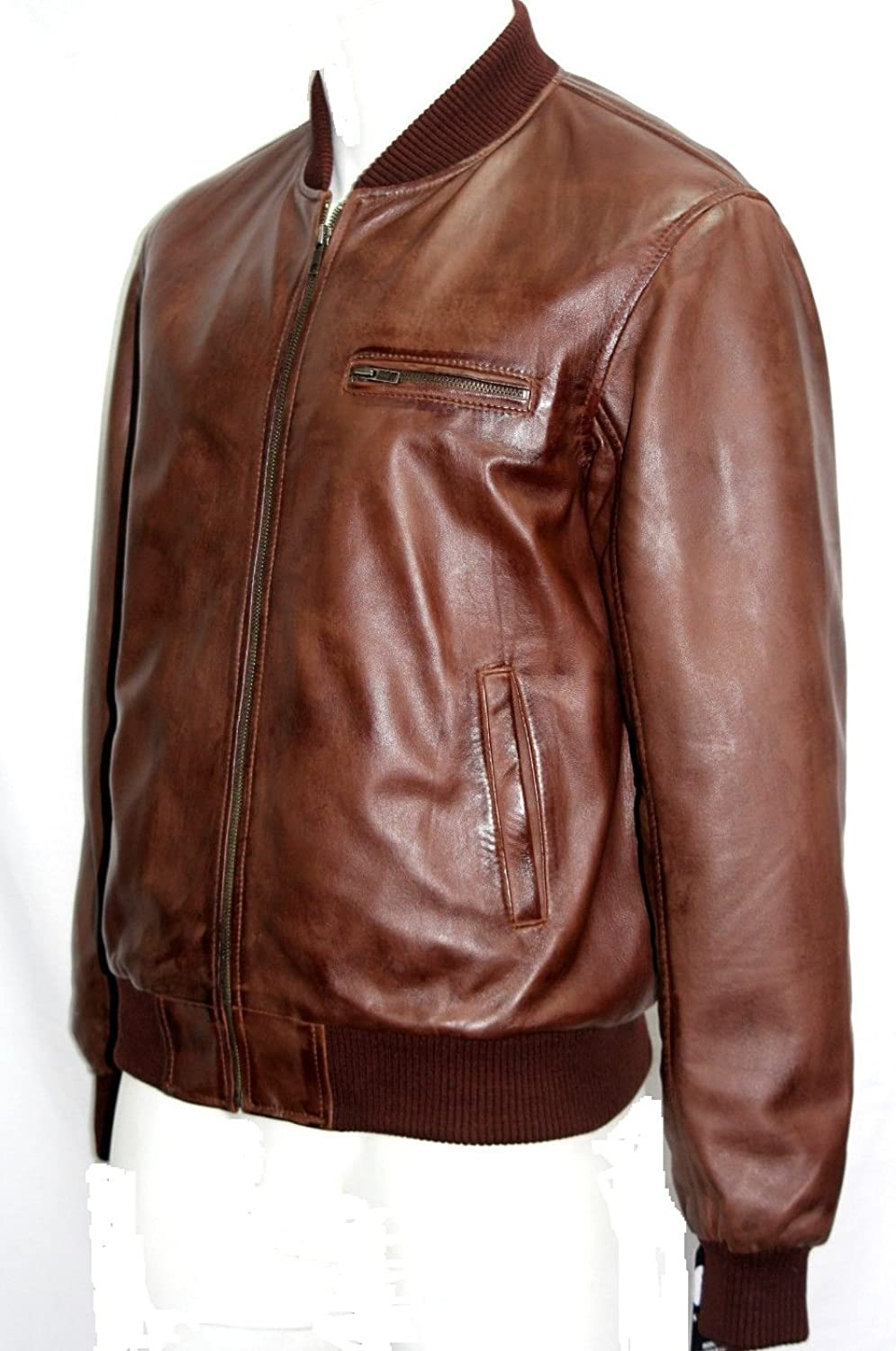 Man 70er Retro Burnish Brown Bomber Stil Lederjacke Alle Größen